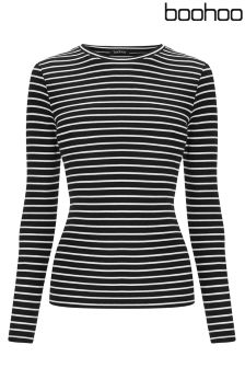 Boohoo Long Sleeved Stripe Ponti Top