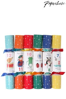 Paperchase 12 Days Of Christmas 12 X Crackers
