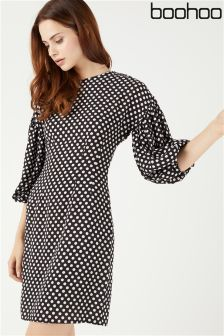 Boohoo Balloon Sleeve Spot Shift Dress
