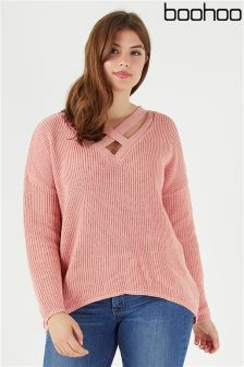 Boohoo Plus Oversized Strap Neck Jumper