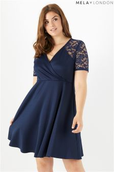 Mela London Curve Wrap Front Lace Sleeve Dress