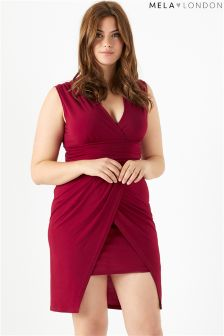 Mela London Curve Wrapped Waterfall Dress