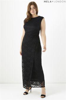 Mela London Curve Side Ruced Lace Maxi Dress
