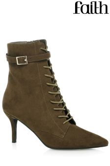 Faith Kitten Lace Up Ankle Boots