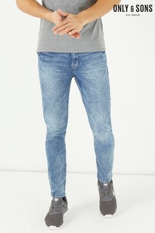 Only & Sons Light Wash Stretch Skinny Jeans