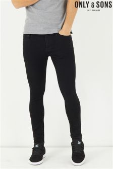 Only & Sons Black Stretch Skinny Jeans
