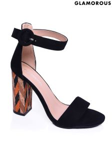Glamorous Printed Cork Heel Sandal