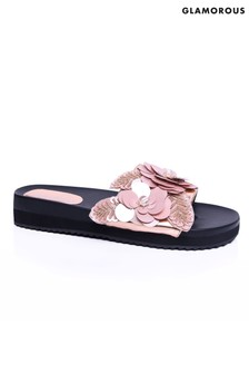 Glamorous Metallic 3D Flower Slider Sandals