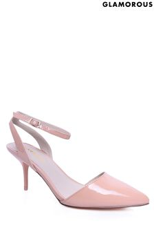 Glamorous Mid Heel Patent Court Shoes