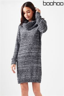 Boohoo Cowl Neck Boucle Soft Knit Jumper Dress