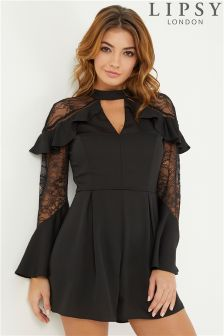 Lipsy Ruffle Sleeve Lace Insert Playsuit