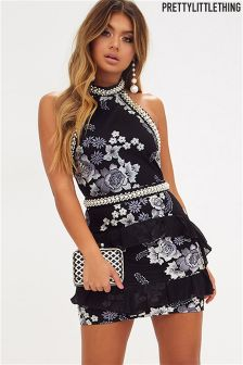 PrettyLittleThing Embroidered Bodycon Dress