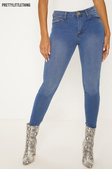 PrettyLittleThing Mid Rise Mid Wash Slim Leg Jeans