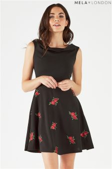 Mela London Rose Embroidered Bardot Dress