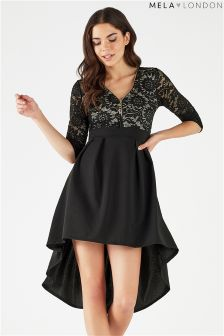 Mela London Long Sleeve Lace High Low Dress
