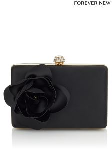 Forever New Rose Satin Box Clutch Bag