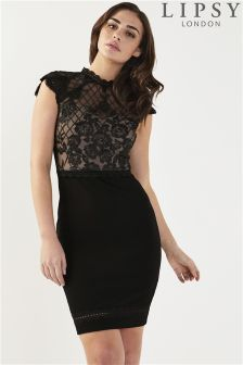 Lipsy Petite Lace Grid Artwork Bodycon Dress