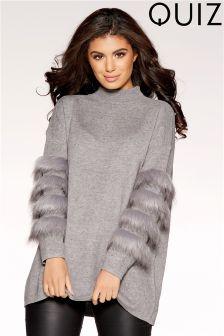 Quiz Knit Faux Fur Sleeve Dress