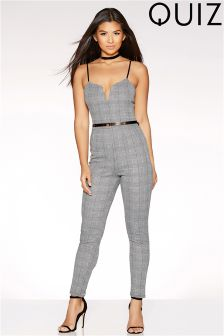 Quiz Jaquard Check Detail Jumpsuit