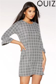 Quiz Jaquard Check Frill Sleeve Tunic Dress