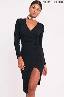 PrettyLittleThing Wrap Front Midi Dress
