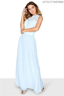 Little Mistress Lace Bodice Pleated Cross Over Waist Maxi Bridesmaid Dress