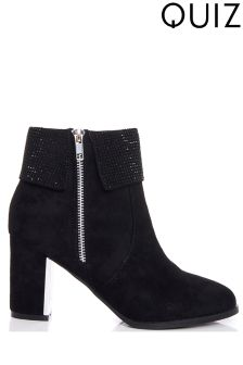 Quiz Stud Collar Zip Heel Ankle Boots