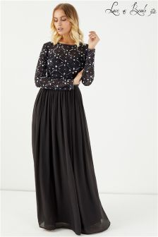 Lace & Beads Backless Embellished Maxi Dress