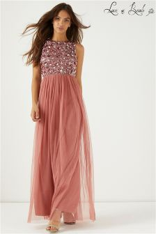 Lace & Beads Embellished Party Maxi Dress