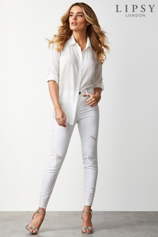 Lipsy Ripped Zip Detail Skinny Jeans