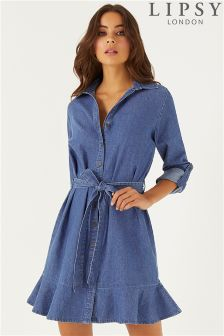 Lipsy Denim Flute Hem Shirt Dress
