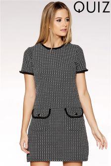 Quiz Jaquard Patch Pocket Shift Dress