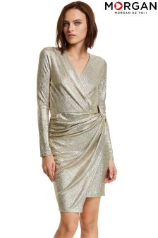Morgan Metallic Wrap Dress