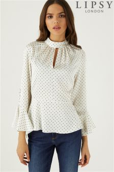 Lipsy Polka Dot Button Sleeves Blouse