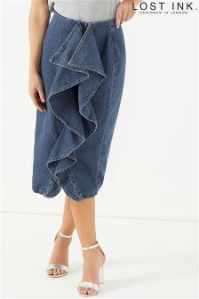 Lost Ink Side Ruffle Denim Pencil Skirt
