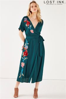 Lost Ink Embroidered Wrap Maxi Dress