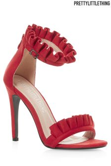 PrettyLittleThing Frill Two Part Going Out Heeled Sandals