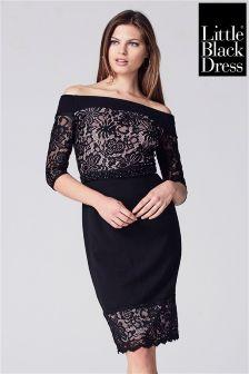 Little Black Dress Lace And Crepe Bardot Pencil Dress