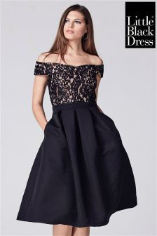Little Black Dress Lace Bardot Prom Dress