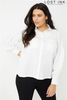 Lost Ink Curve Cuffed Chiffon Shirt