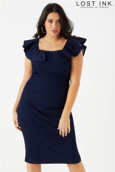 Lost Ink Curve Frill Denim Dress