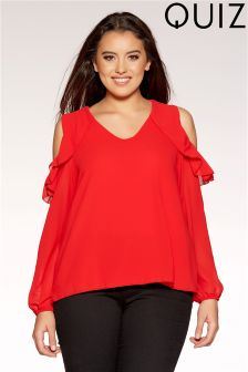Quiz Curve Ruffle Detail Cold Shoulder Top