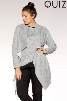 Quiz Curve Knit Long Sleeve Waterfall Jacket