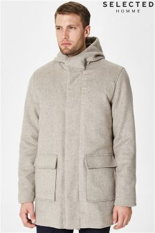Selected Homme Hood Wool Coat