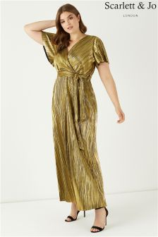 Scarlett & Jo Gold Wrap Pleated Maxi Dress