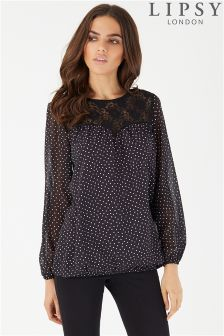 Lipsy Lace Yoke Polka Dot Blouse