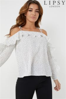 Lipsy Polka Dot Cold Shoulder Pleated Frill Top