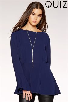 Quiz Flute Sleeve Necklace Top