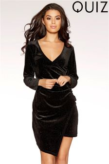 Quiz Velvet Glitter Long Sleeve Wrap Front Mini Dress