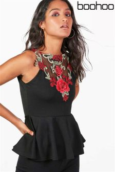 Boohoo Embroidered Peplum Top